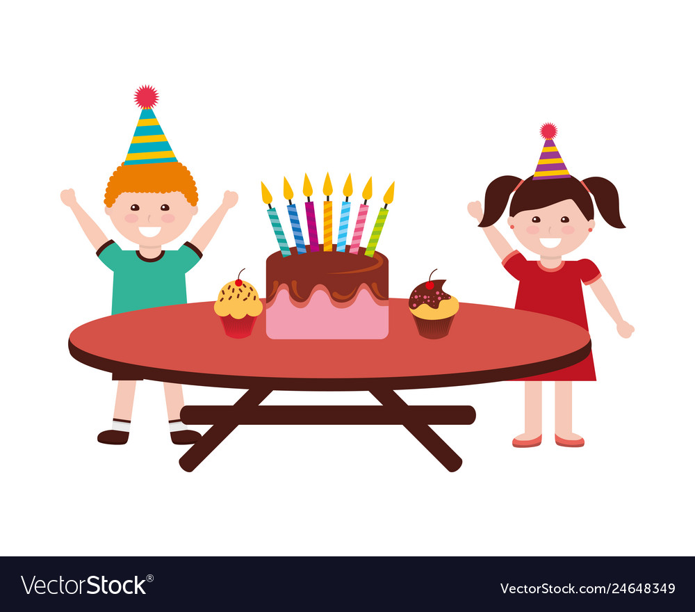 Groovy Happy Boy And Girl Birthday Cake On Table Vector Image Personalised Birthday Cards Paralily Jamesorg