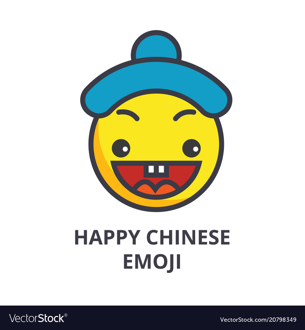 Happy chinese emoji line icon sign