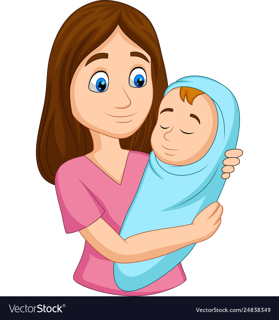 Happy mother carrying newborn bawrapped in blue