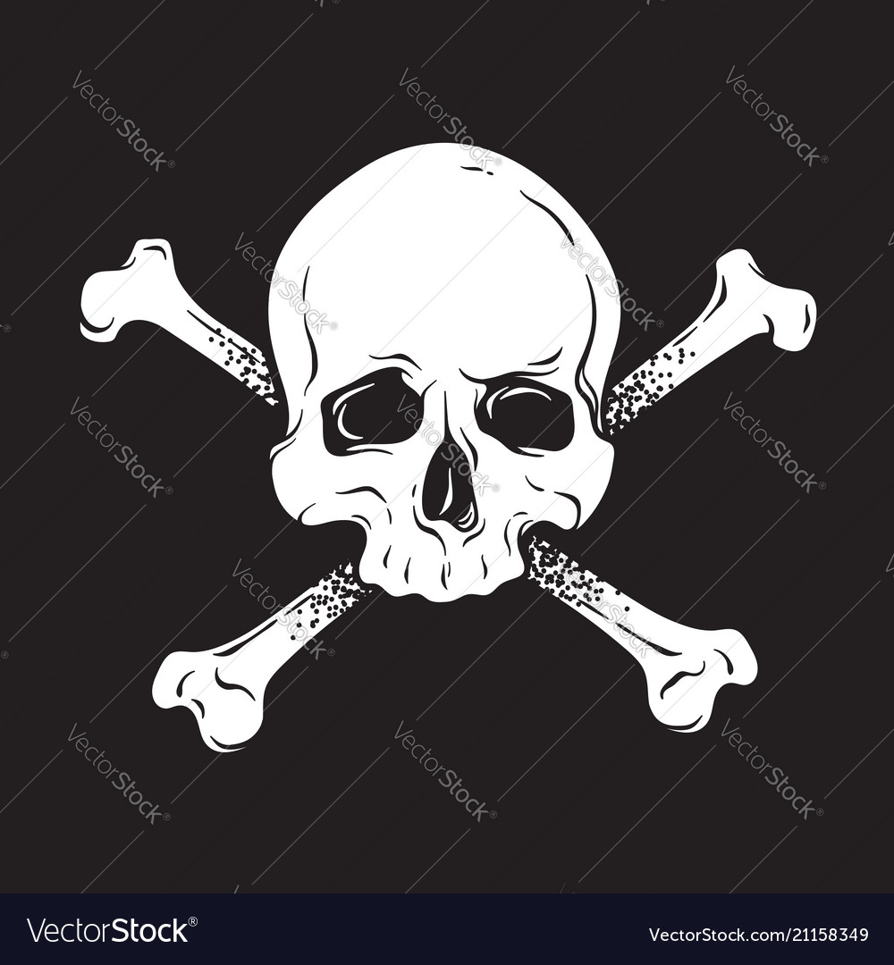 Jolly roger human skull with crossbones isolated