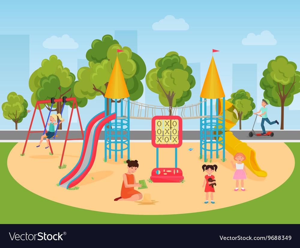 Kids children playing in the playground