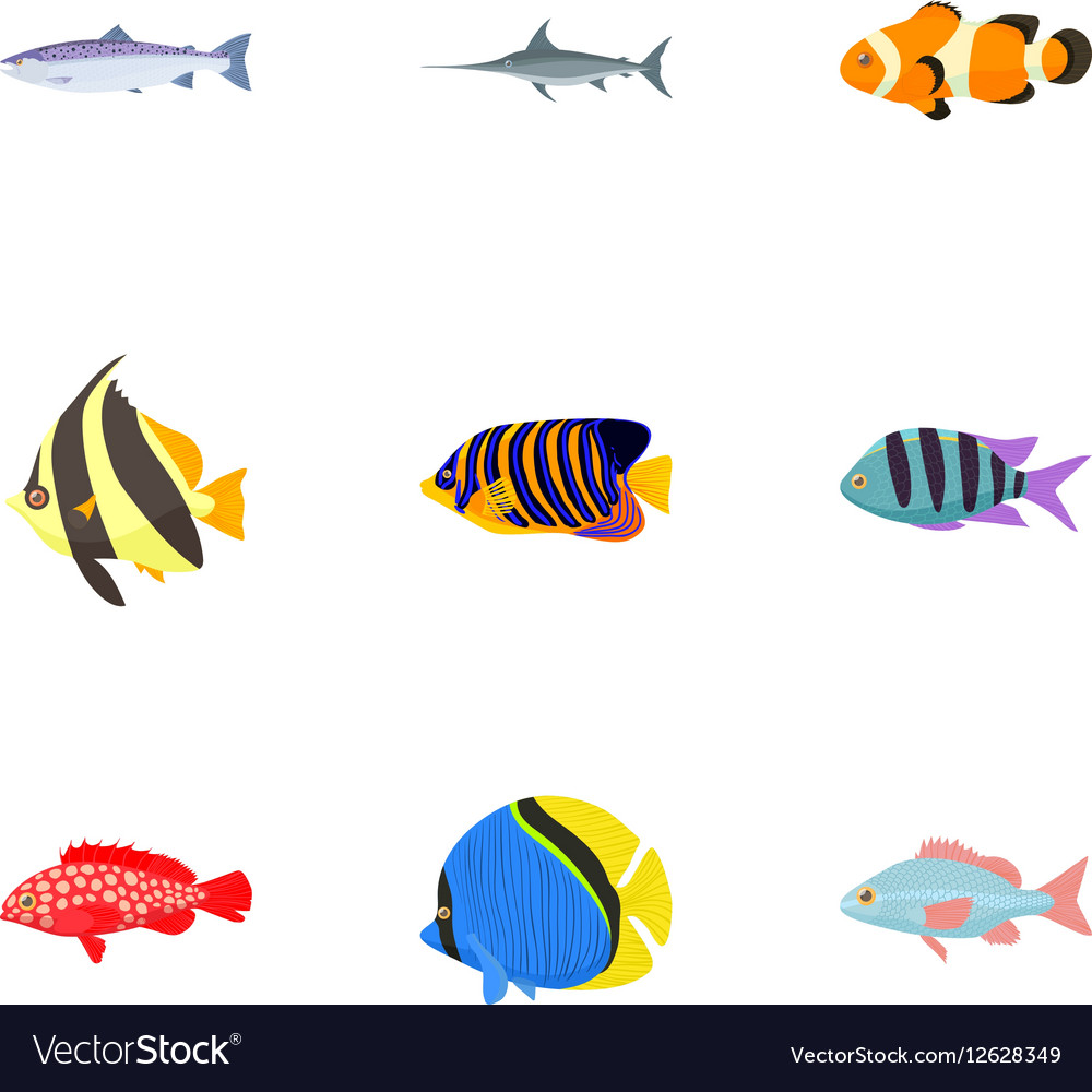 Marine fish icons set cartoon style vector image