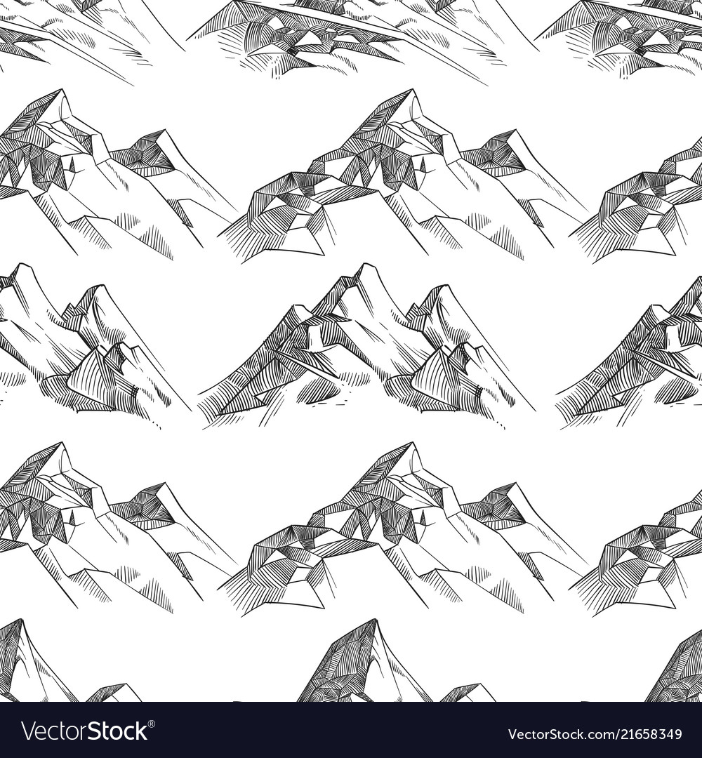 Pencil sketched mountains seamless pattern
