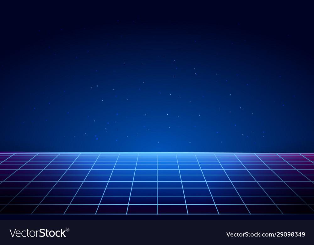 Retro vaporwave background cyberpunk laser grid