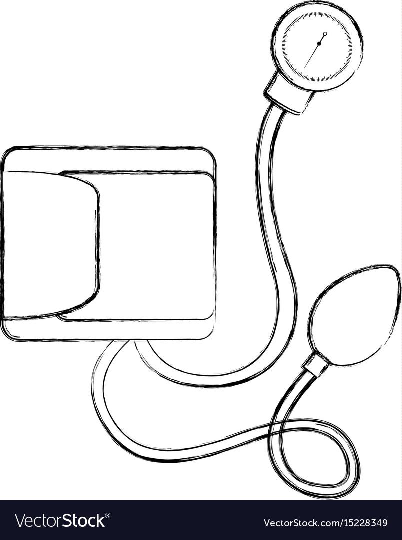 Sketch Draw Blood Plessure Apparatus Cartoon Vector Image