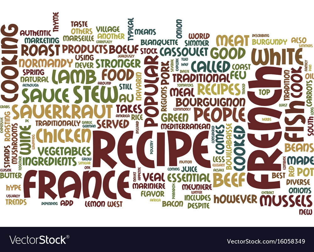 The most popular french recipes text background
