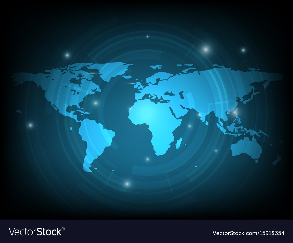 Abstract world map digital technology background