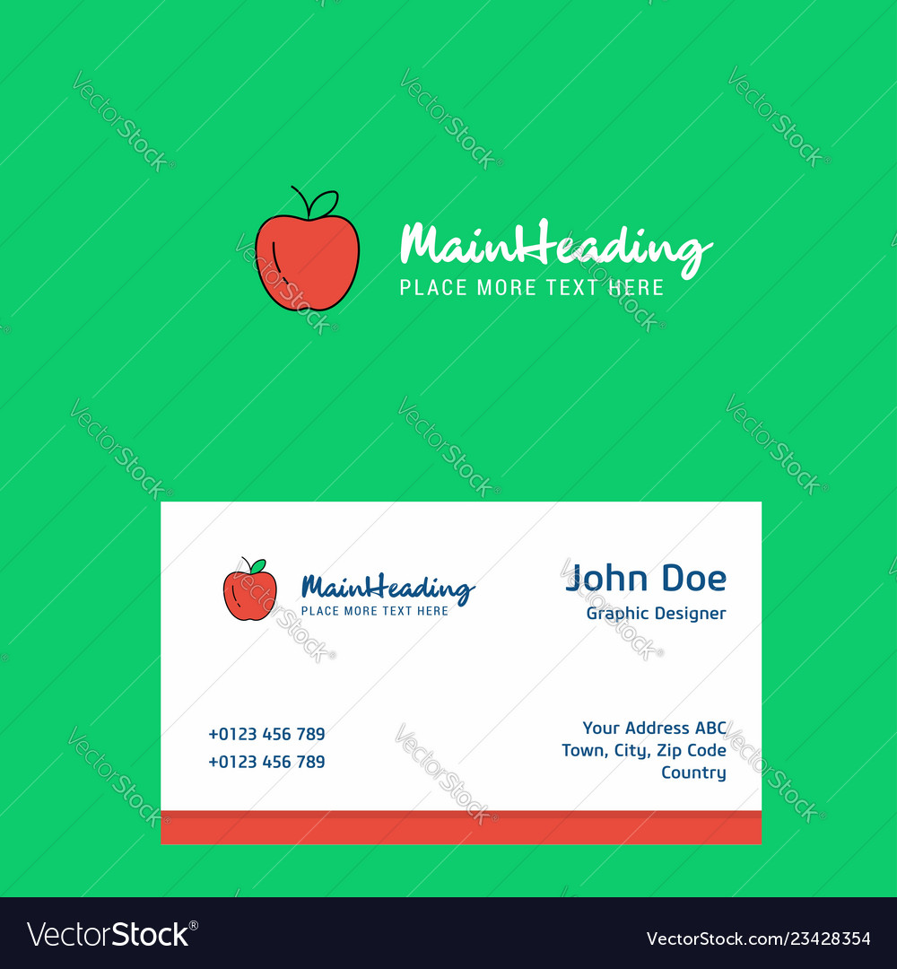 Apple Logo Design With Business Card Template Vector Image