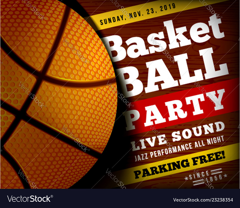 Basketball party with a basketball ball on a