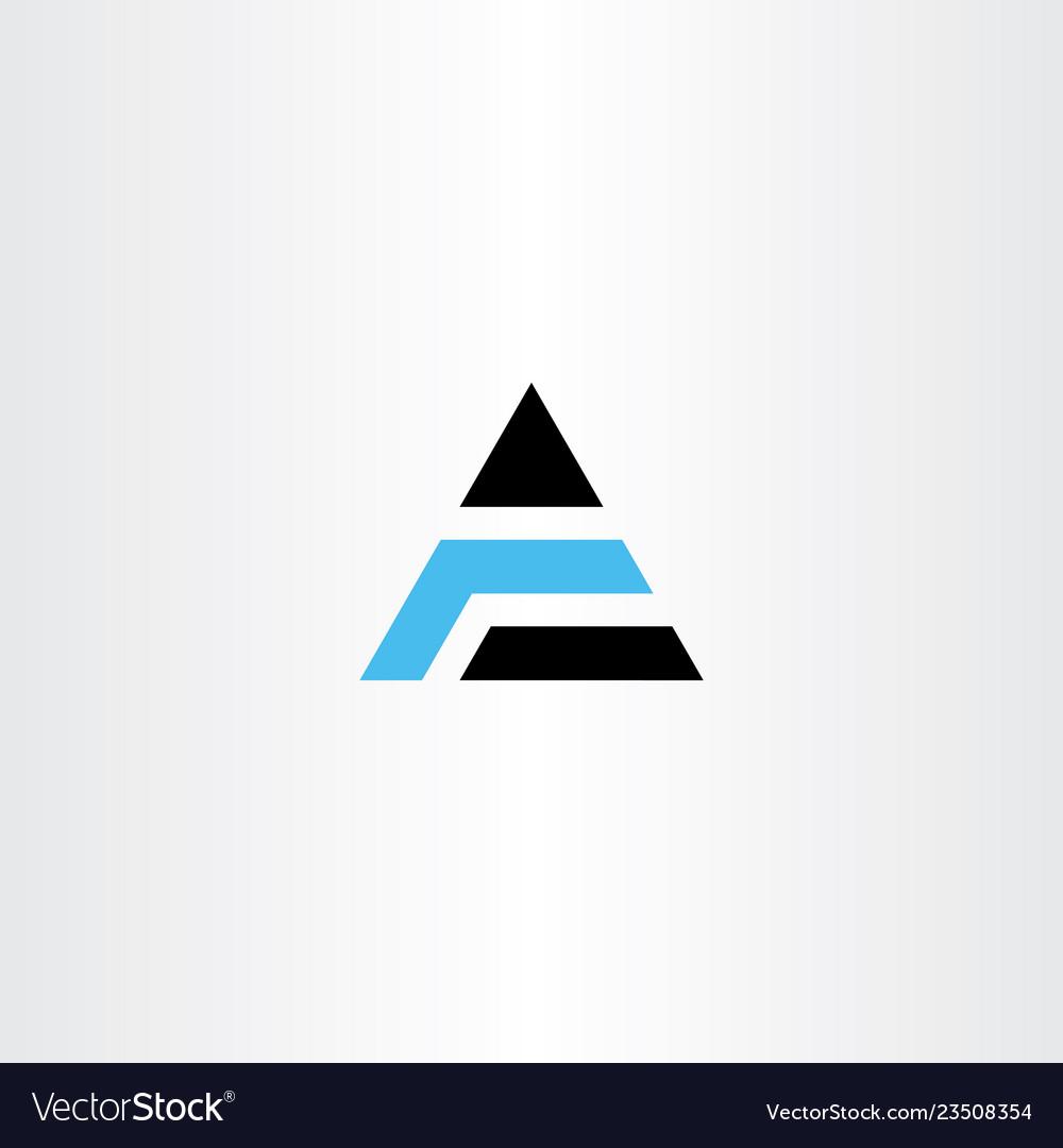 Blue black a letter triangle logo symbol sign