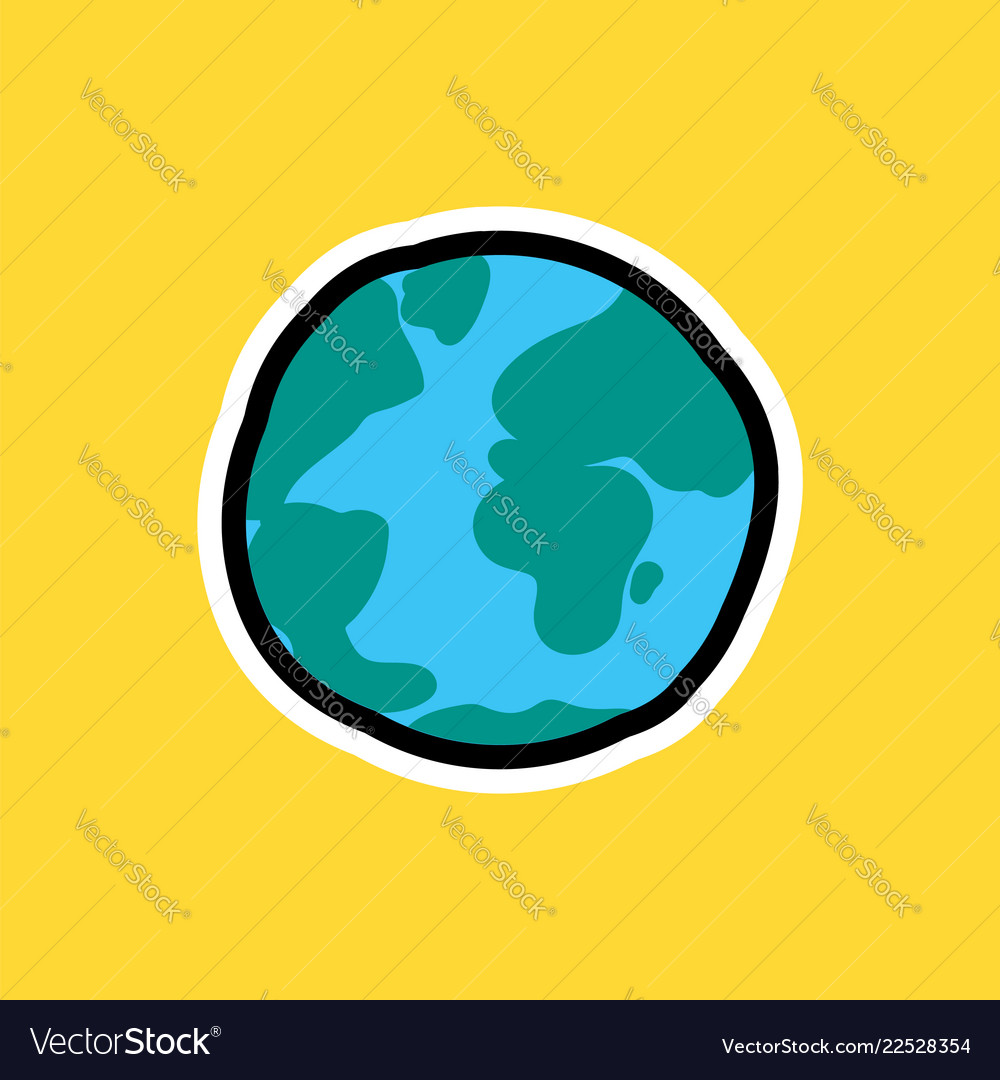 Cartoon sticker with earth planet