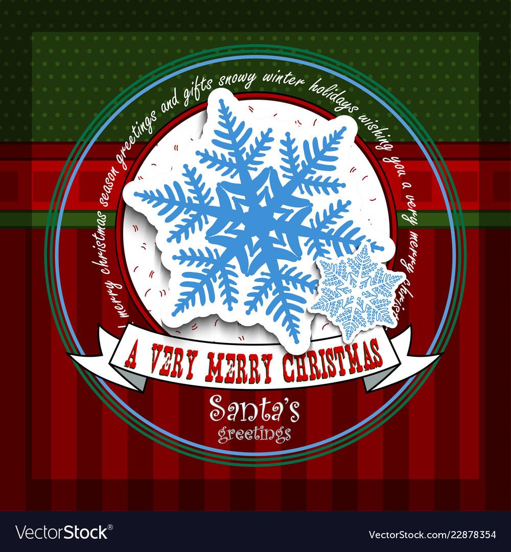 Christmas card with snowflake santas greeting
