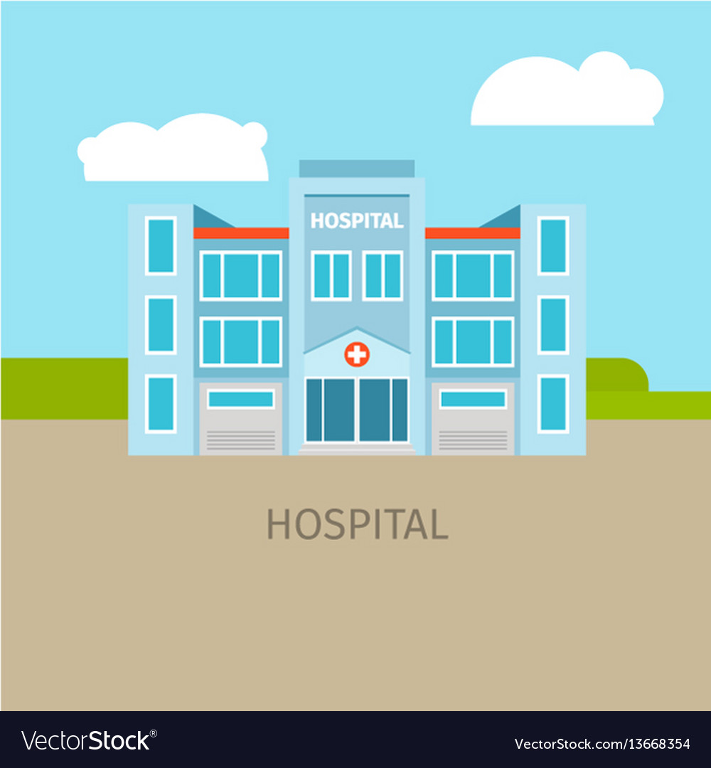 Colored medical hospital building