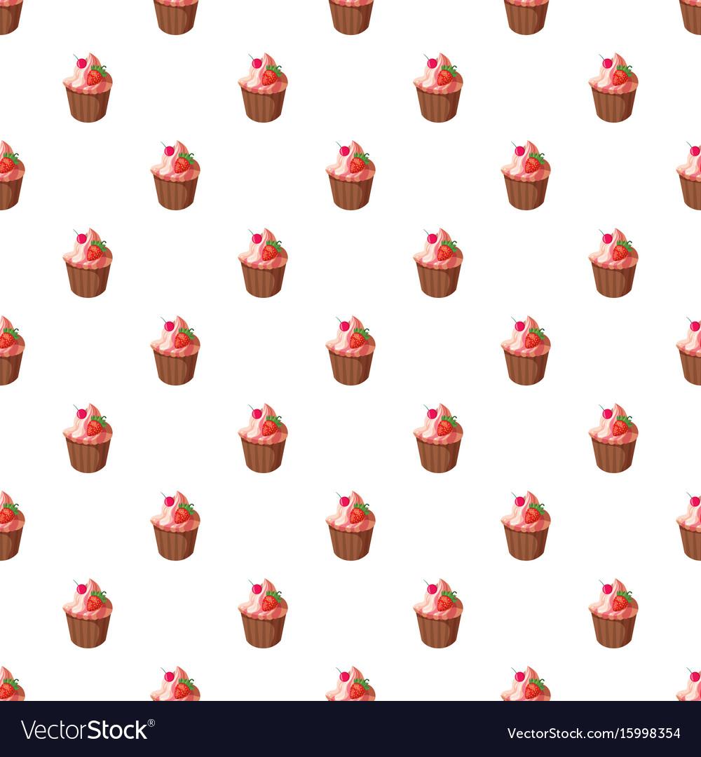 Cupcake with strawberry pattern