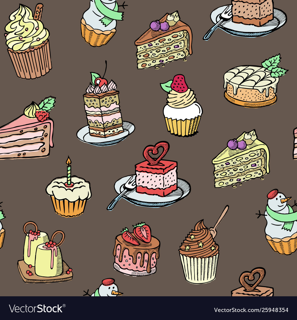 Cupcakes seamless pattern sketch style on