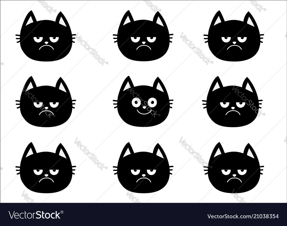 Cute black cat set emotion collection happy