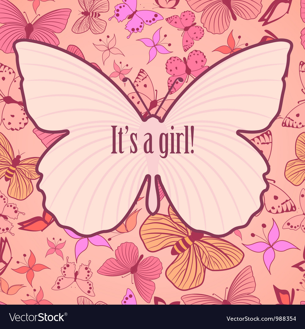 Cute card for baby girl announcement