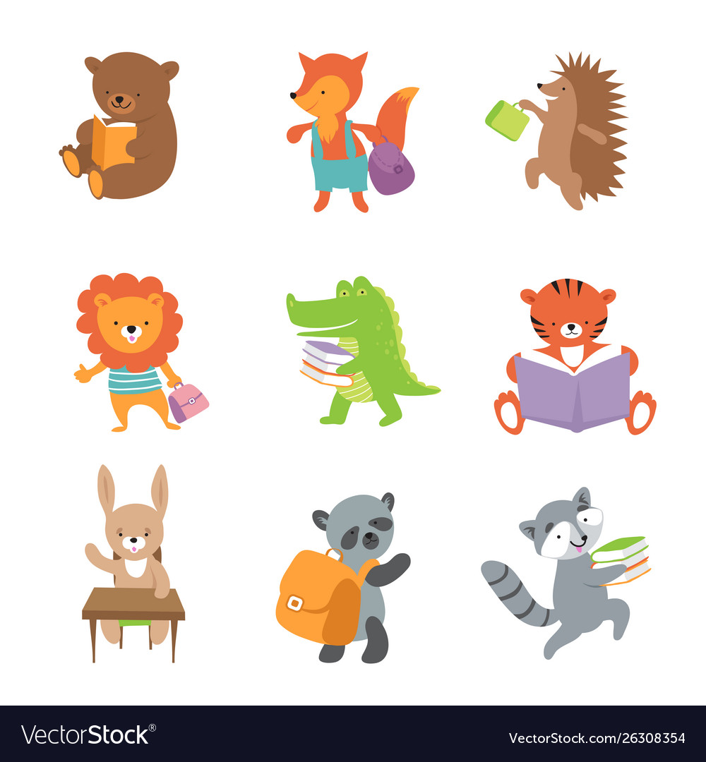 Cute school animals bear and fox lion and