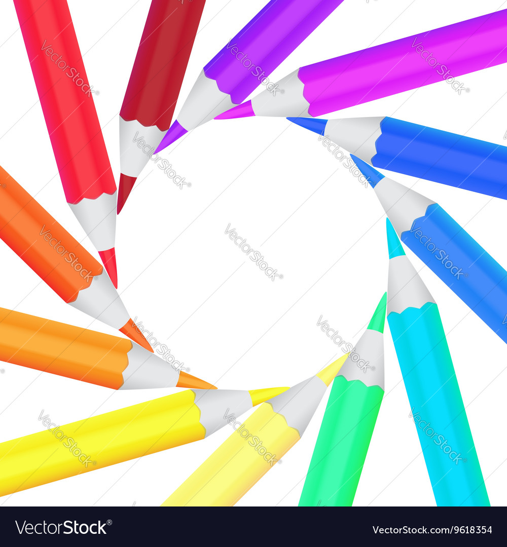 Frame of colored office pencils in a circle