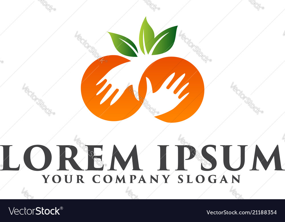 Fruit hand logo design concept template