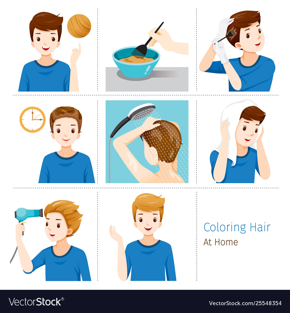 Hair coloring process steps young man