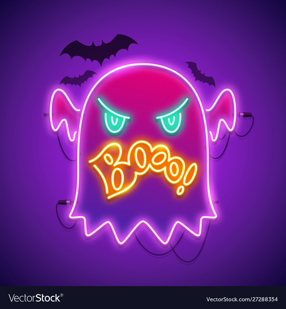 Halloween neon sign with angry ghost boo