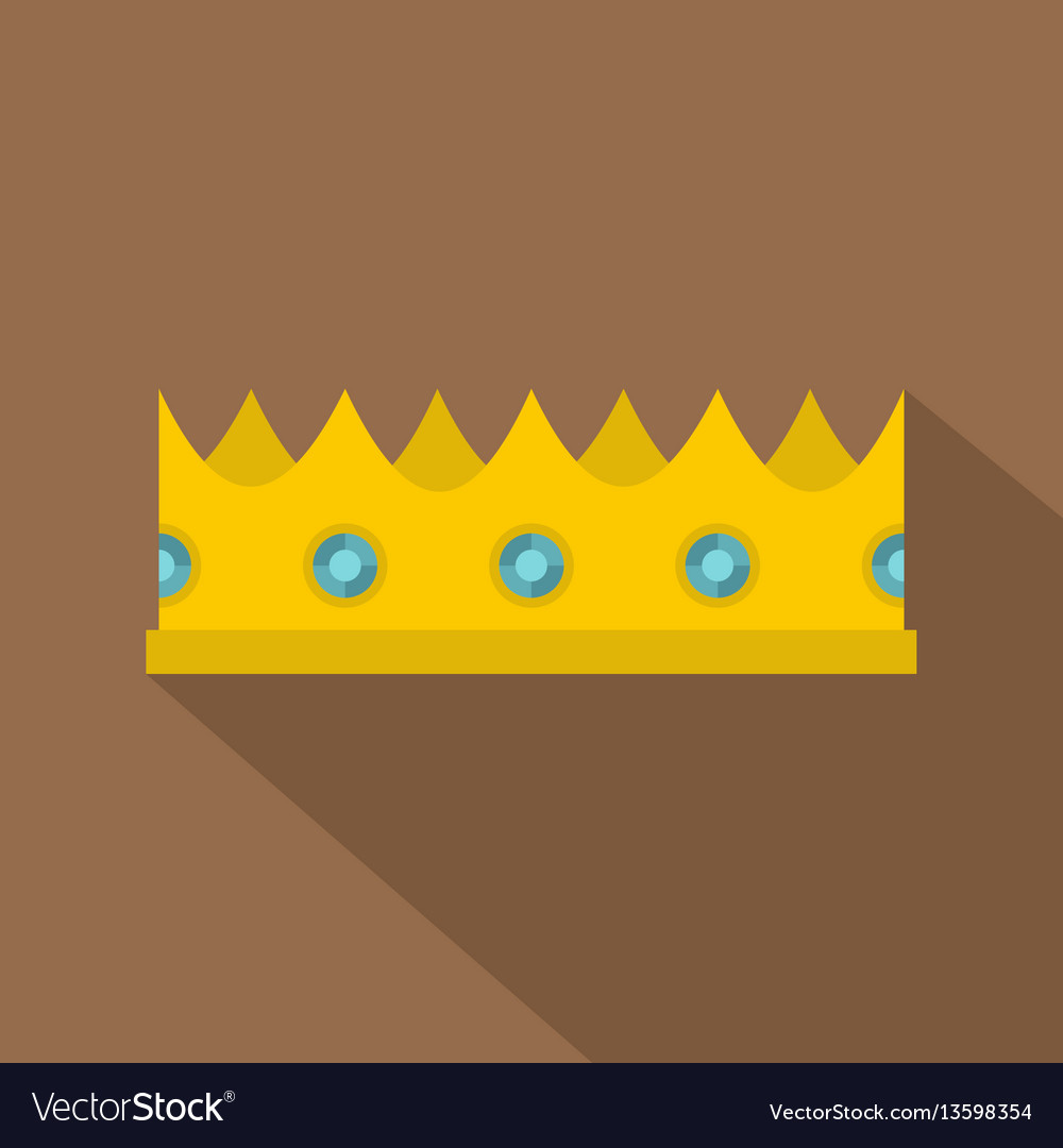 Little crown icon flat style
