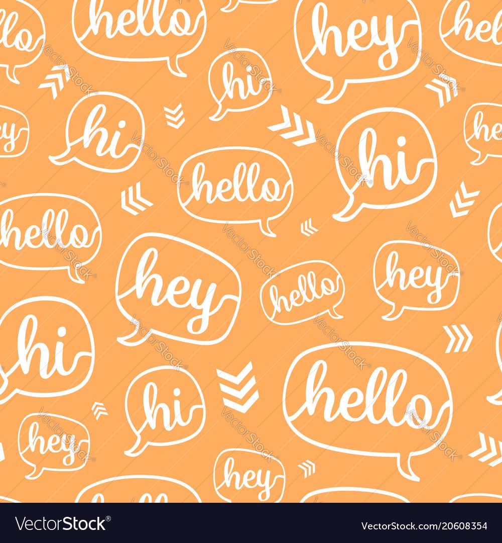 Orange white hello speech bubble seamless vector image