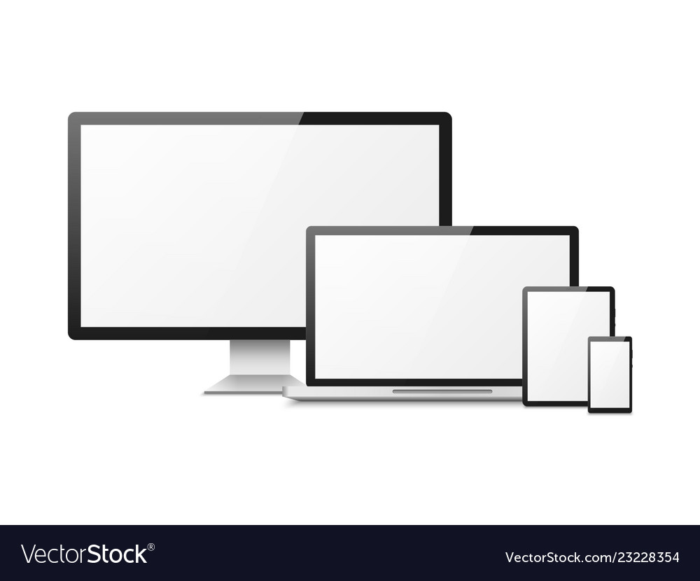 Realistic computer devices laptop tablet phone