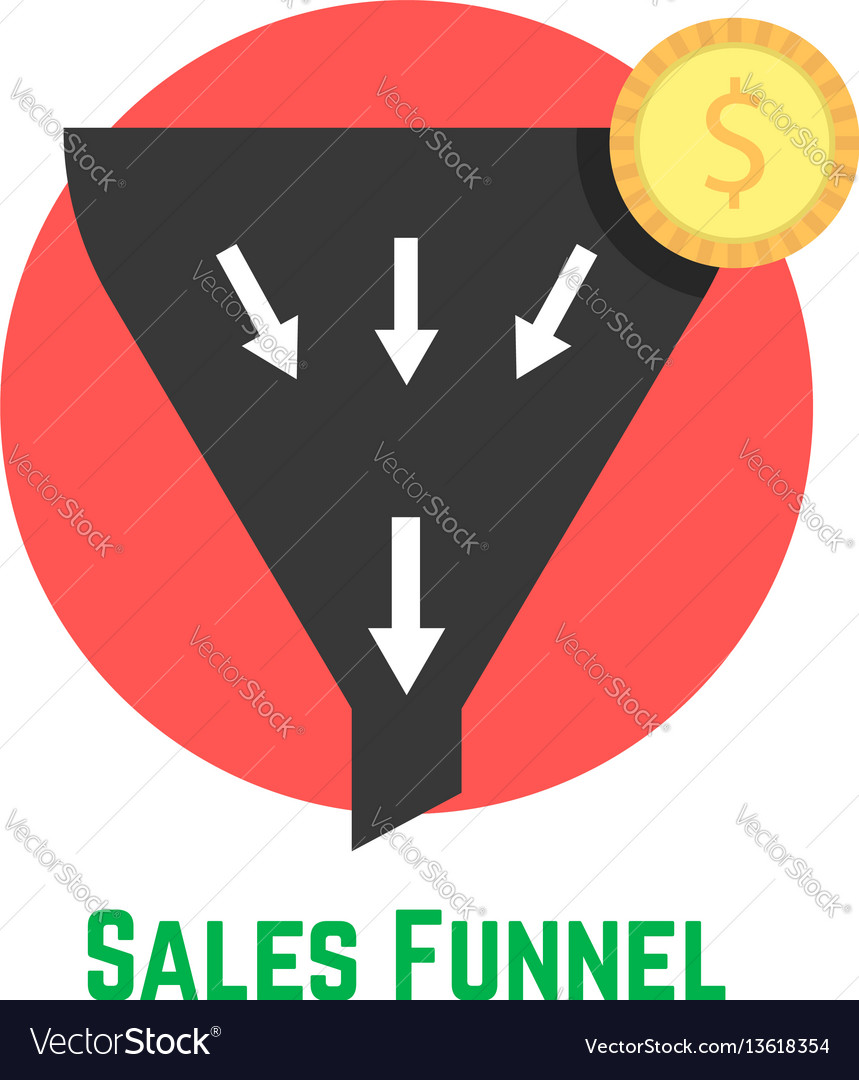 Sales funnel in red circle with coin