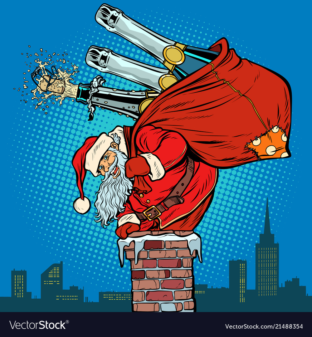 Santa claus with champagne climbs chimney