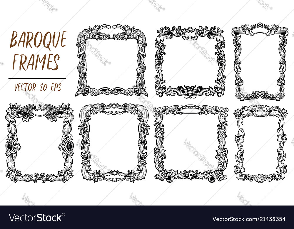 Set with black and white baroque frames in Vector Image