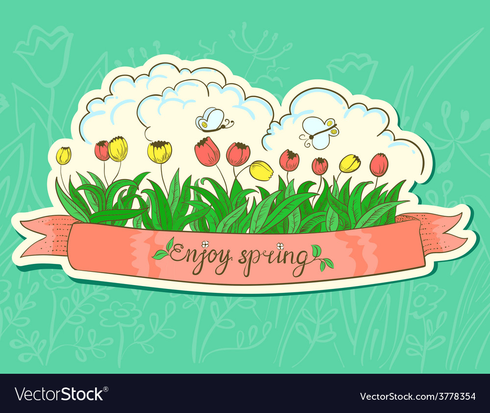 Spring sticker vector image