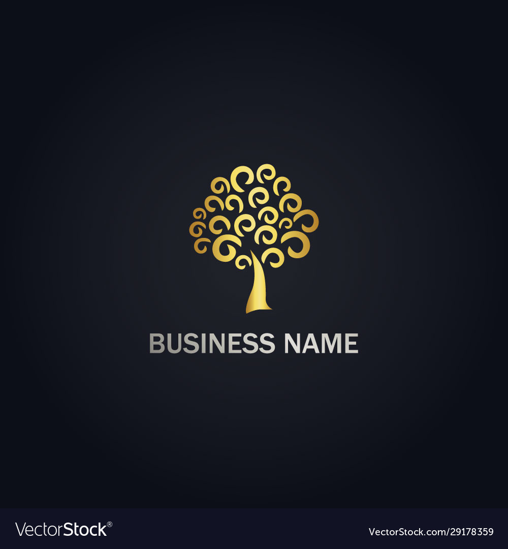 Abstract tree curl gold logo