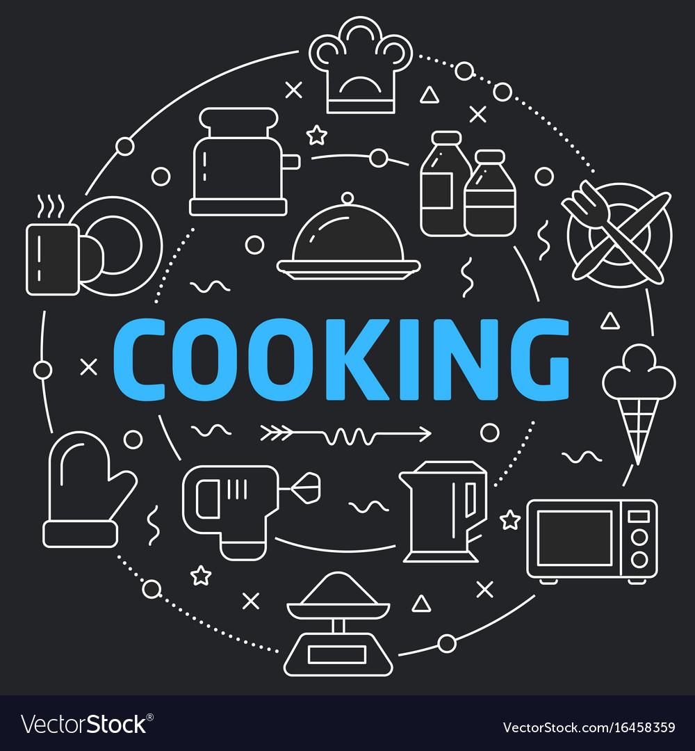 Black line flat circle cooking