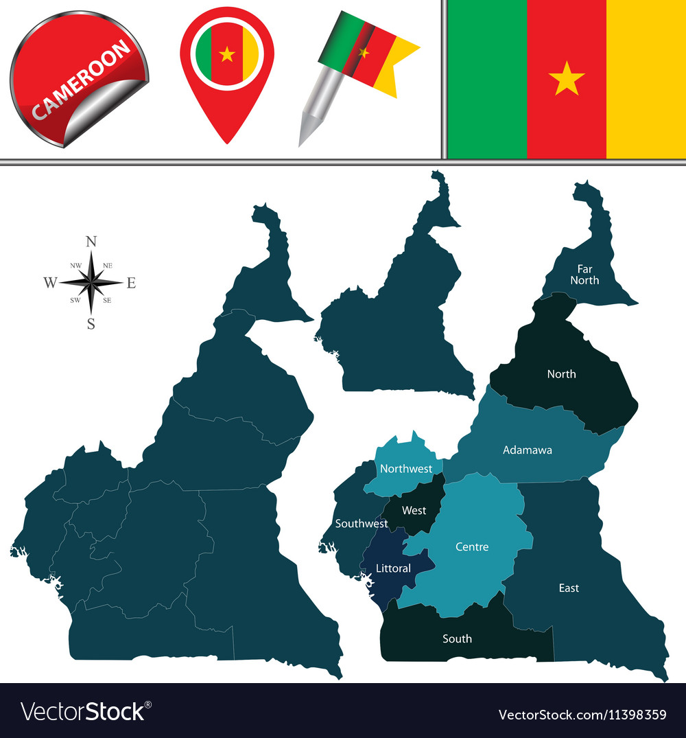 Cameroon map with named divisions Royalty Free Vector Image