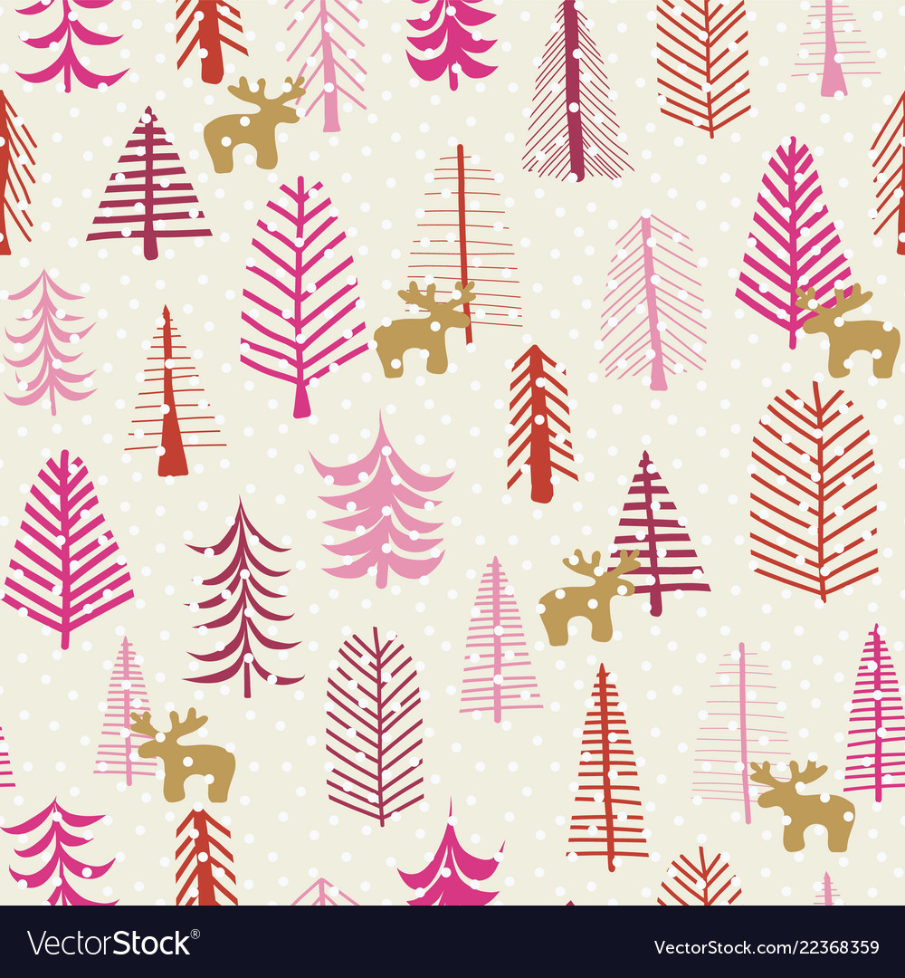 Christmas holiday seamless pattern reindeer trees