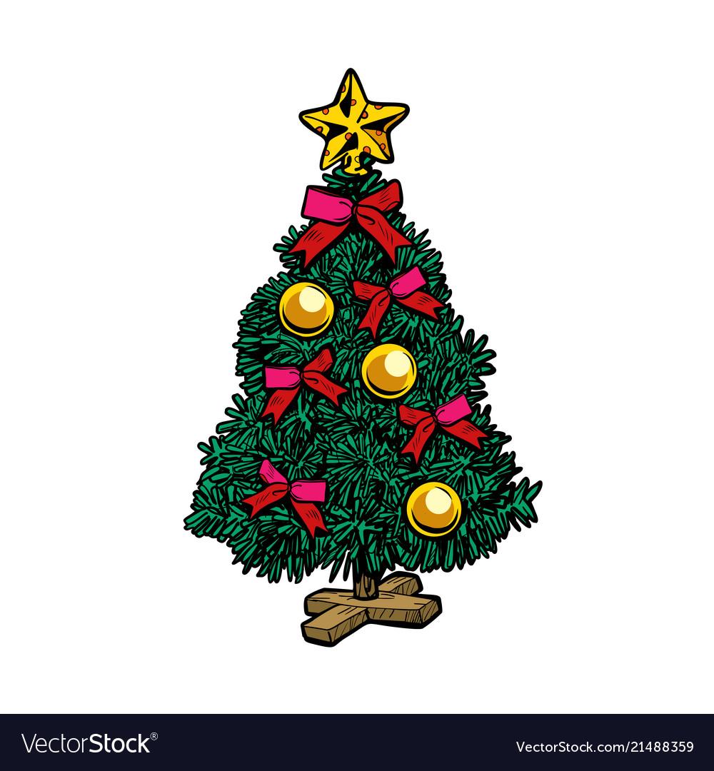 Christmas Tree White Background.Christmas Tree Isolate On White Background