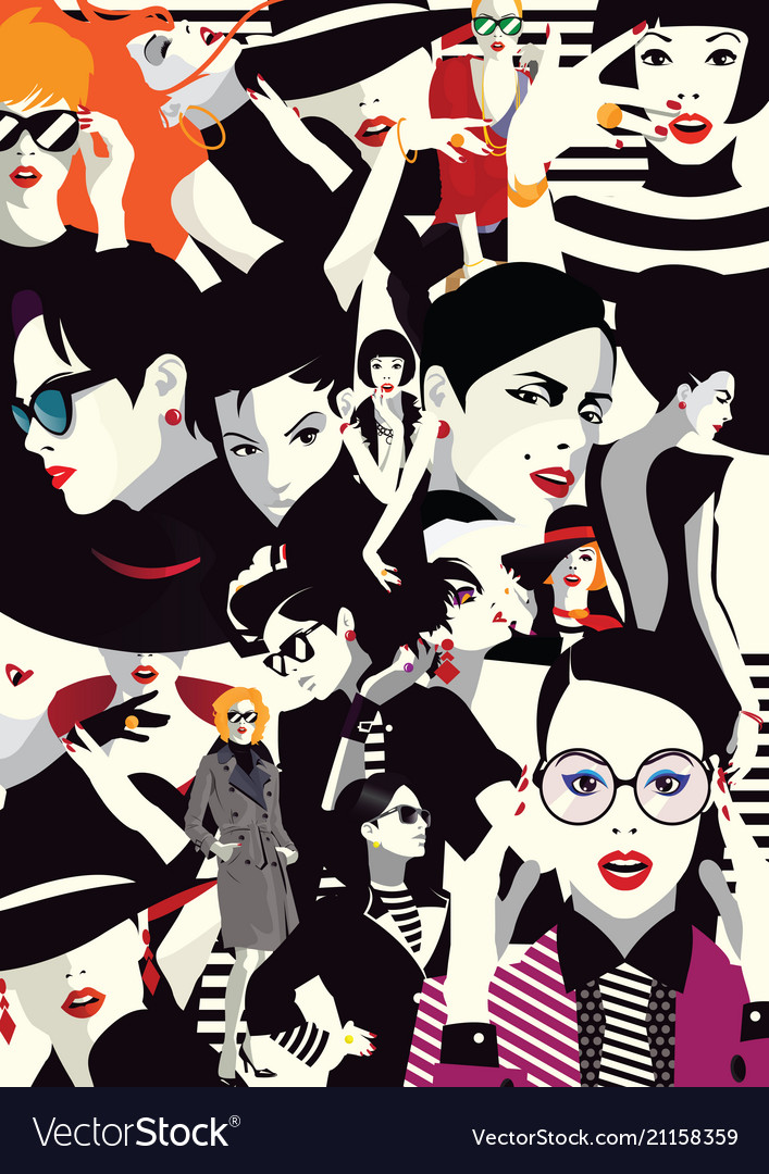 Collage of fashionable girls in style pop art