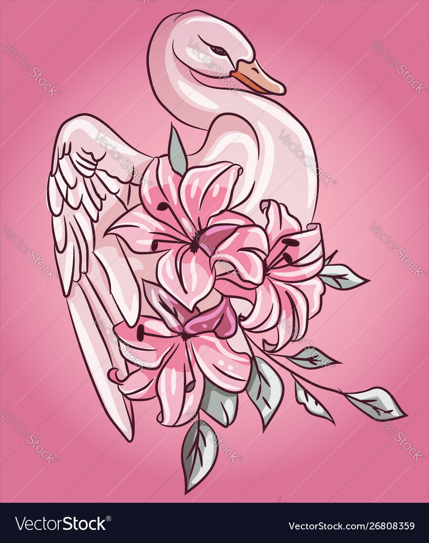 Fabulous pink swan with floral rose lily flowers