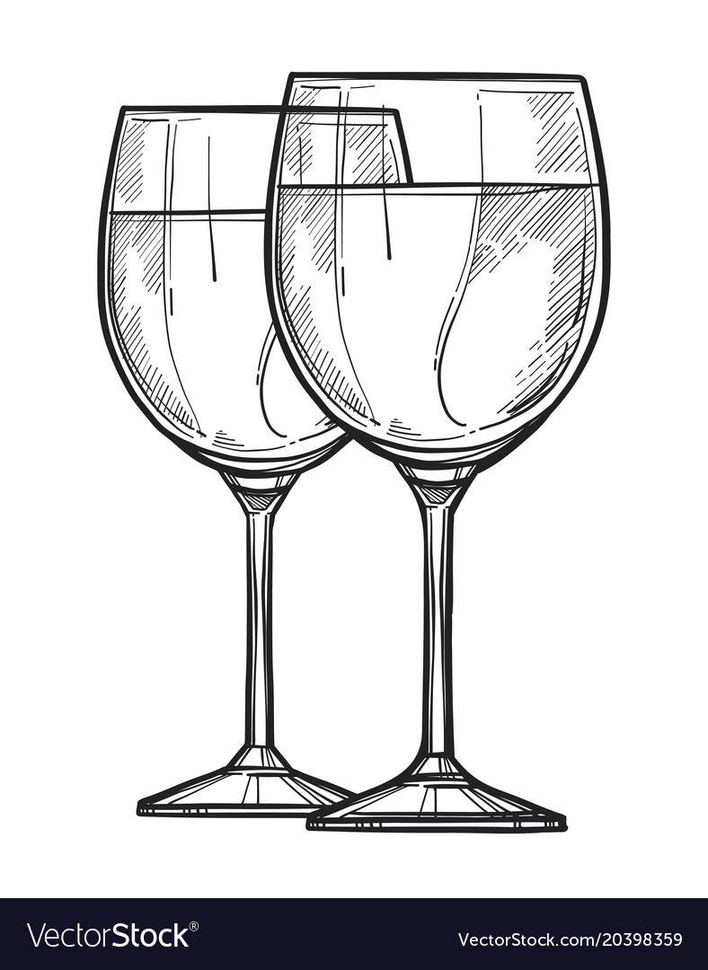 Glass of wine freehand pencil drawing