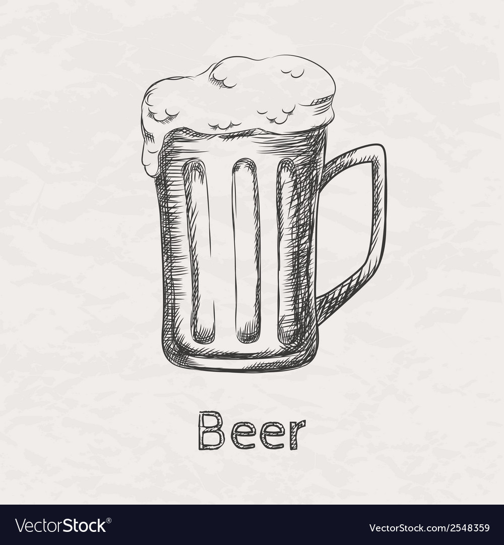 Hand drawn sketch of beer mug