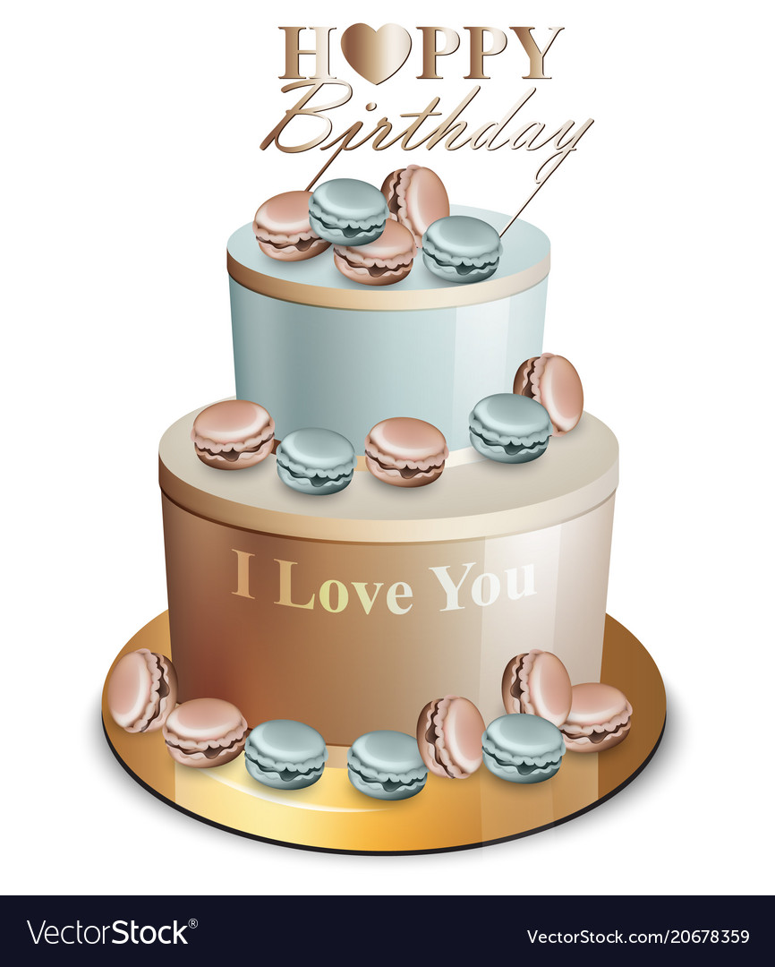 Happy birthday cake realistic blue and Royalty Free Vector