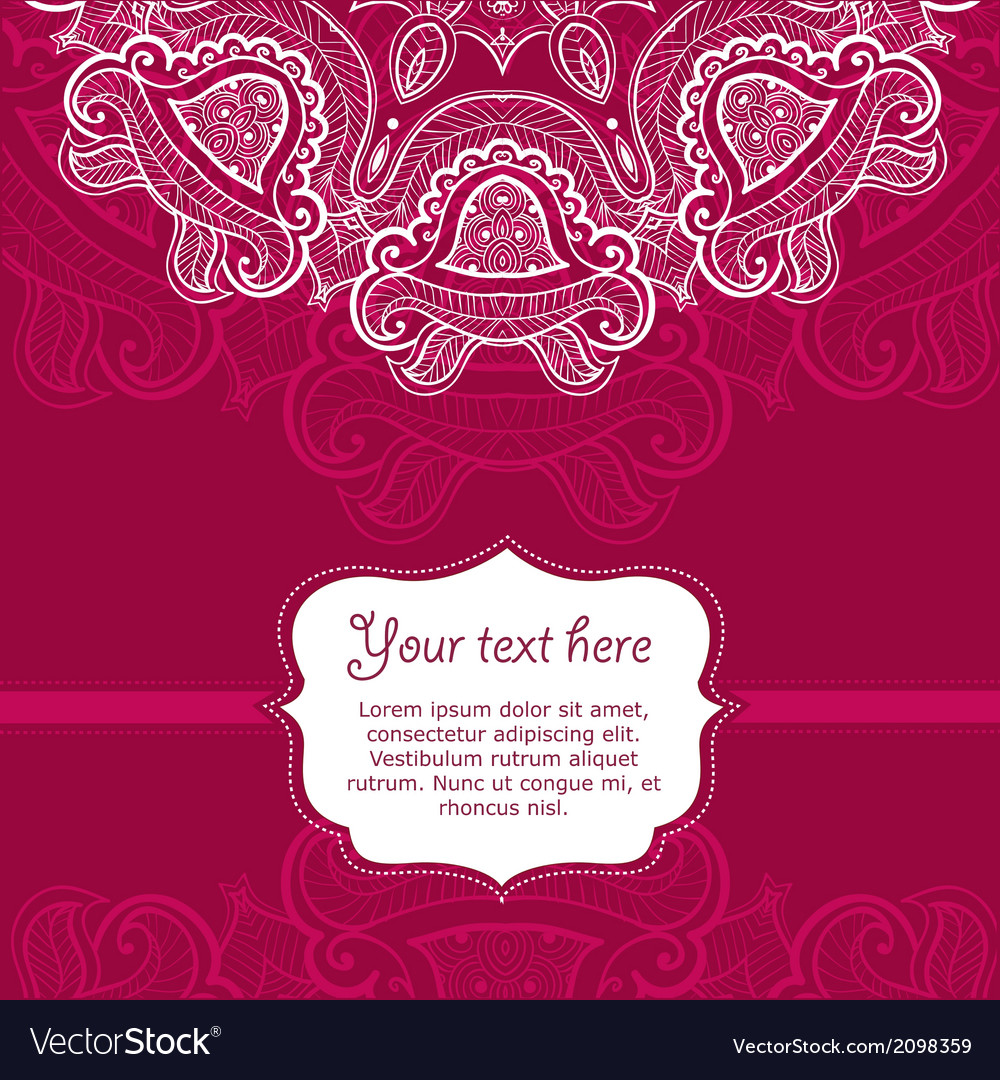 Invitation card with lace ornament Royalty Free Vector Image