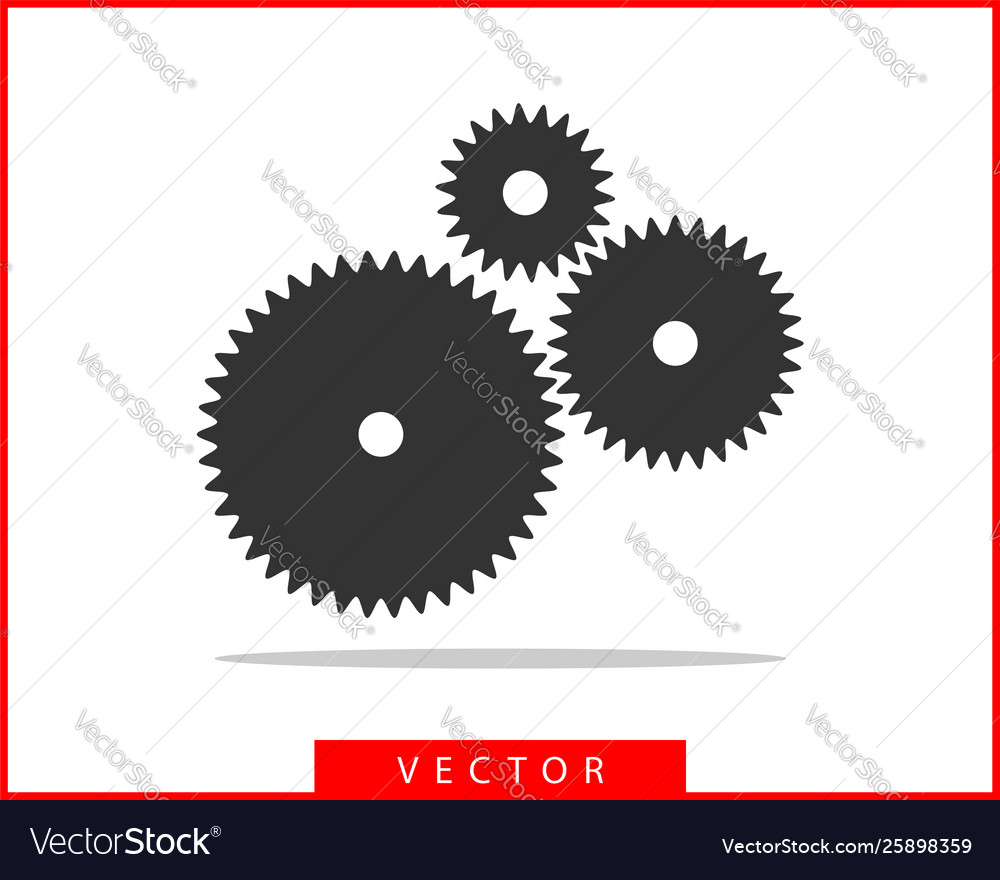 Metal gears and cogs gear icon flat design