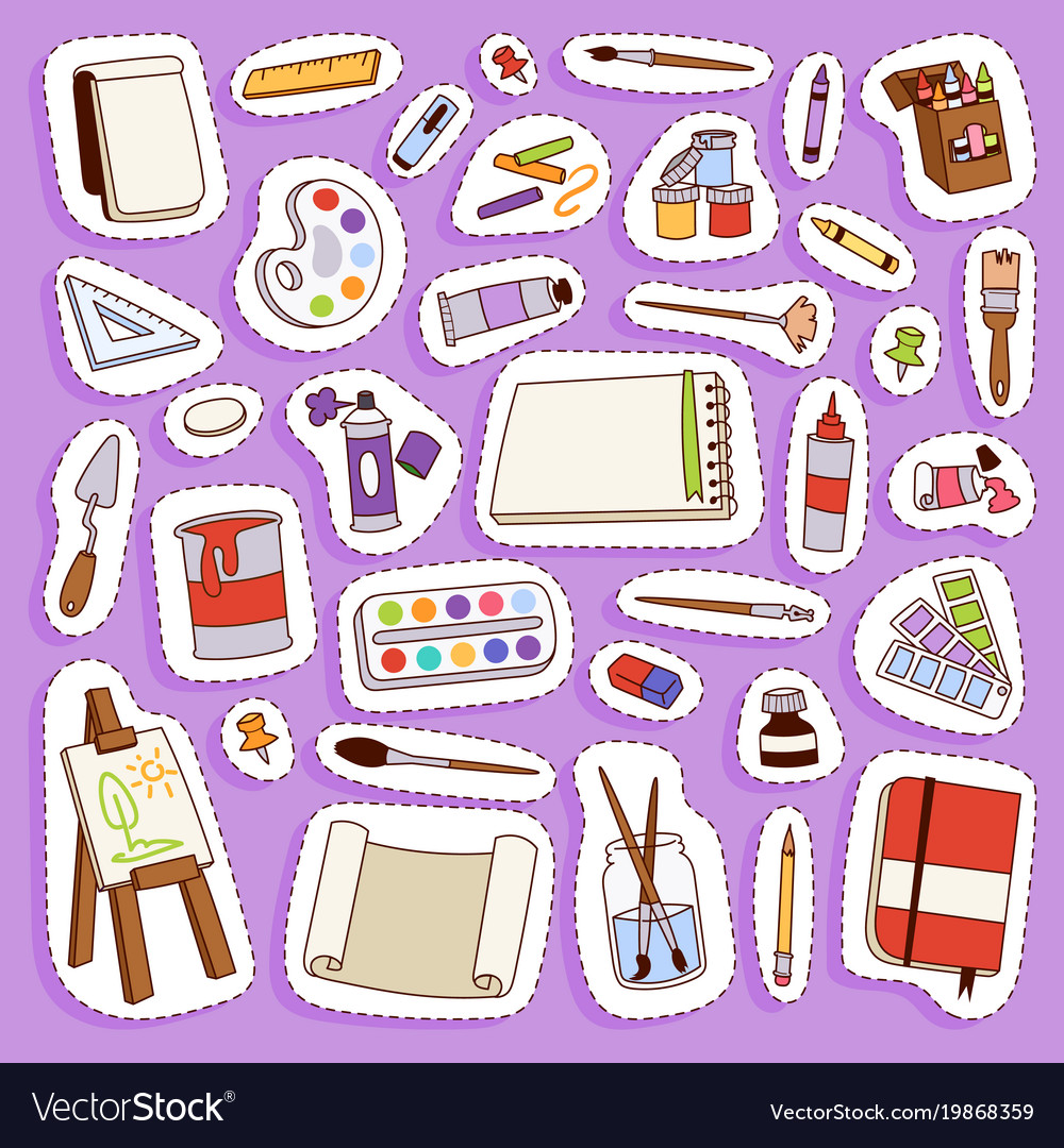Painting artist tools palette icon set flat