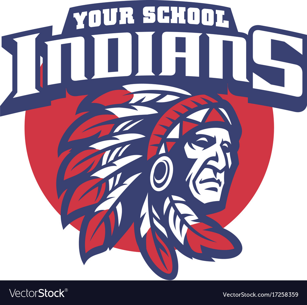 school mascot of indian chief head royalty free vector image