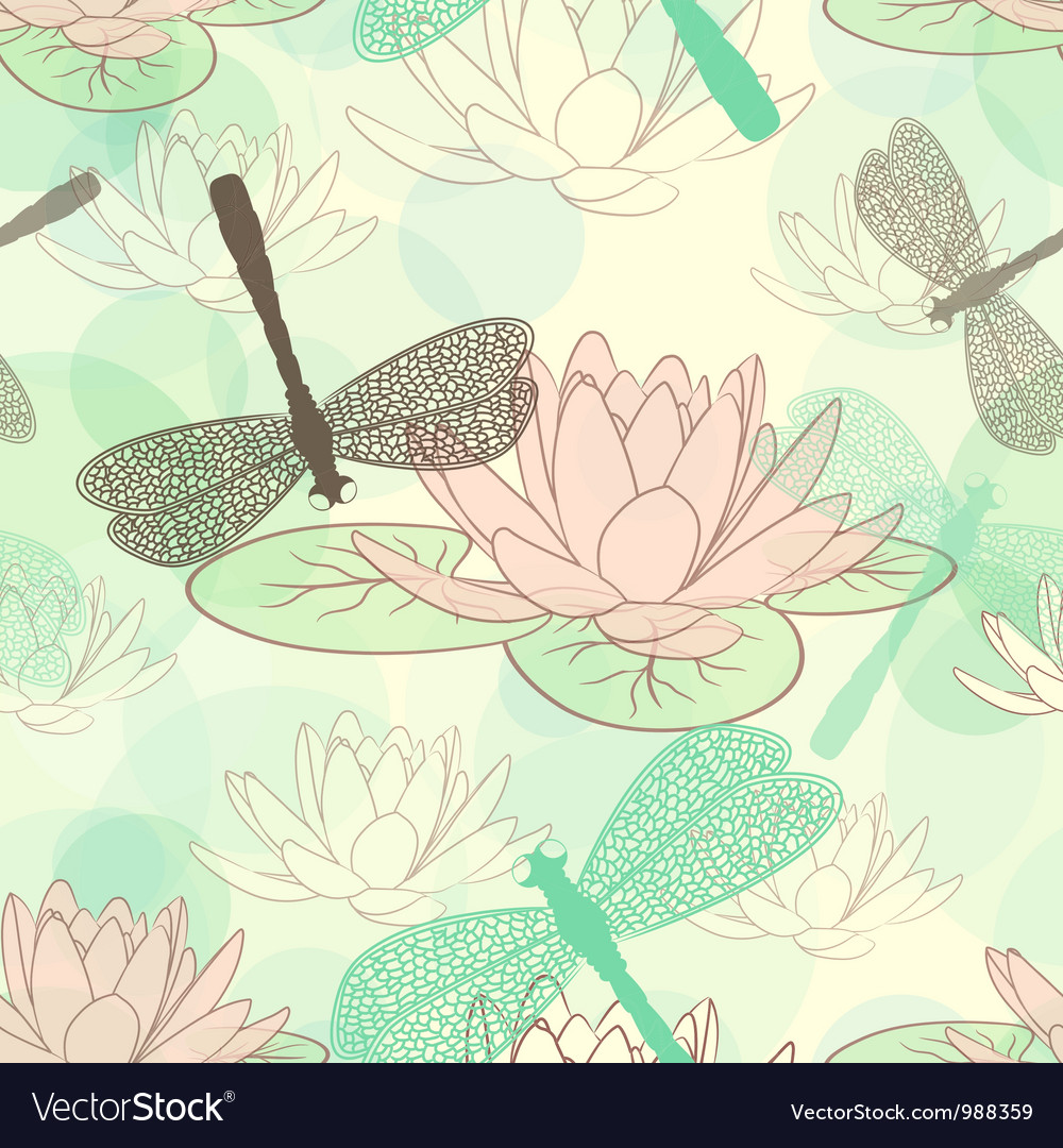 Seamless pattern with lotus flower and dragonflies seamless pattern with lotus flower and dragonflies vector image izmirmasajfo