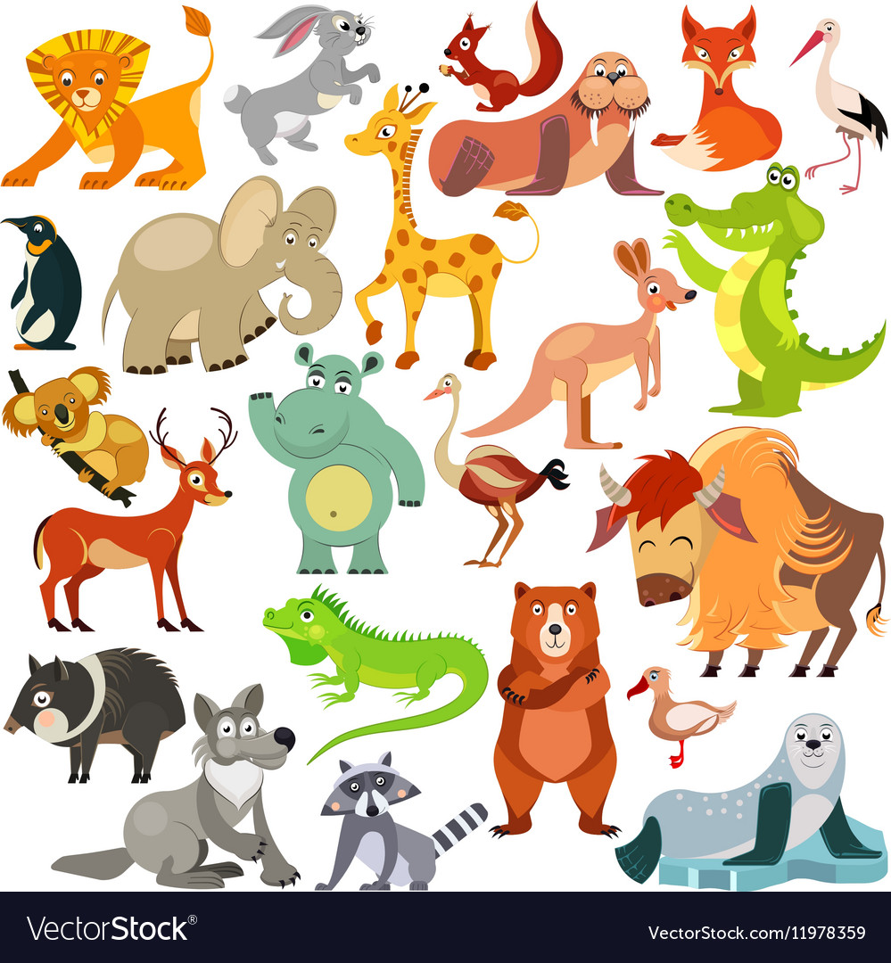 Set of funny animals birds and reptiles