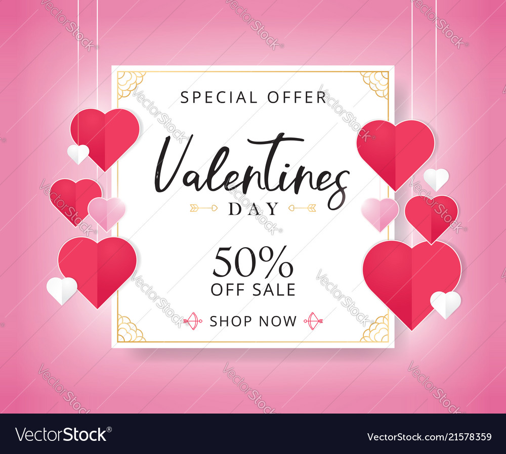 Valentines day sale background with heart shaped